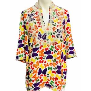 NIEVES LAVI Butterfly Silk Embroidered Tunic